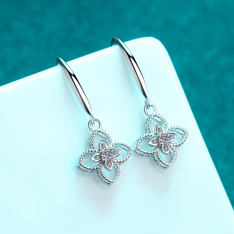 Silver Excellent Cut Moissanite Blossom Flower Dangle Earrings