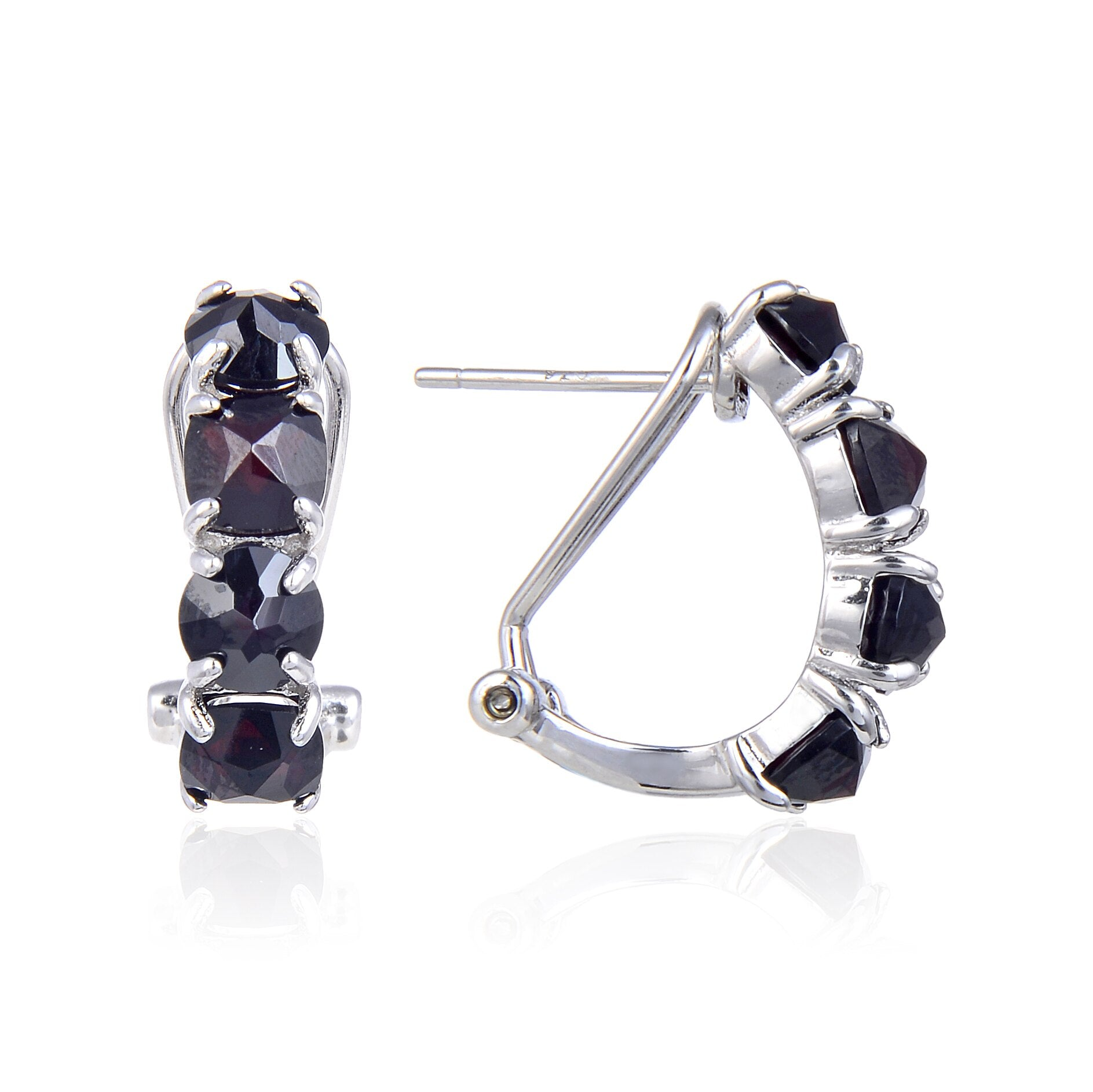 Sterling Silver Peridot Black Garnet Mystic Topaz Women's Hoop Earrings
