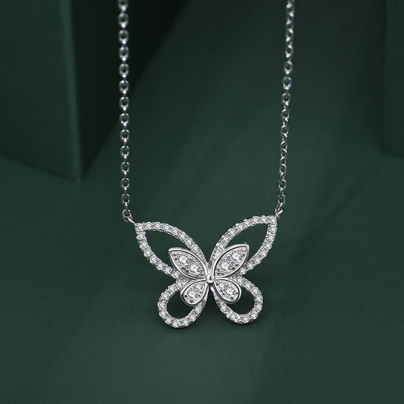 Sterling Silver Moissanite Butterfly Pendant Necklace