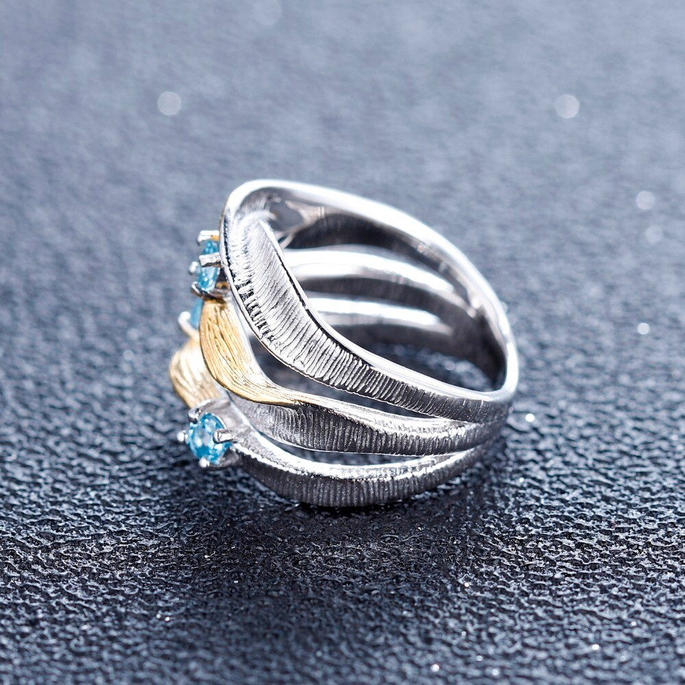 Sterling Silver Swiss Blue Topaz Handmade Band Twist Ring