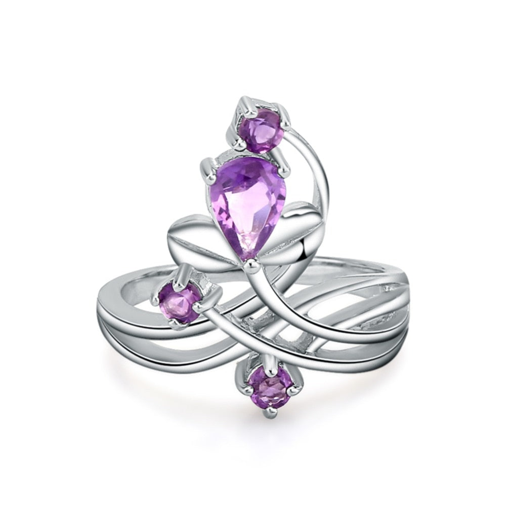 Natural Amethyst Silver Flower Ring For Women