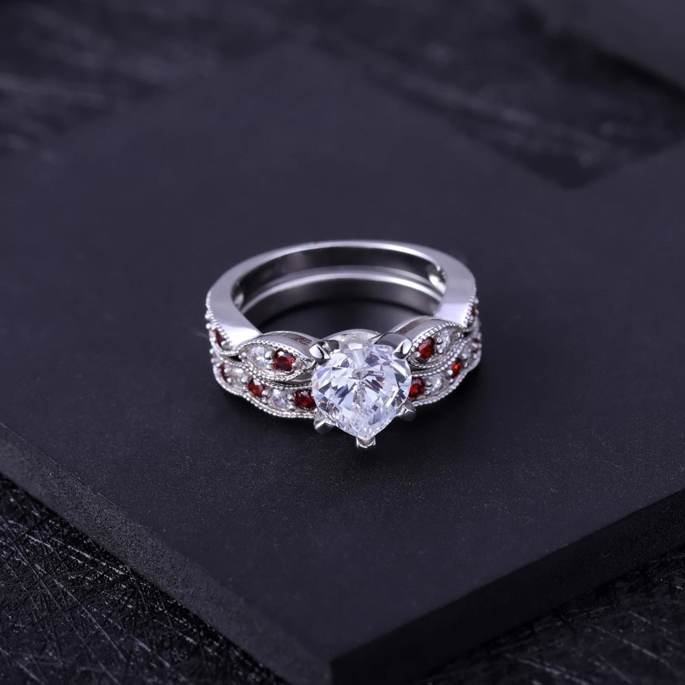 Sterling Silver Double CZ Ring Set for Women