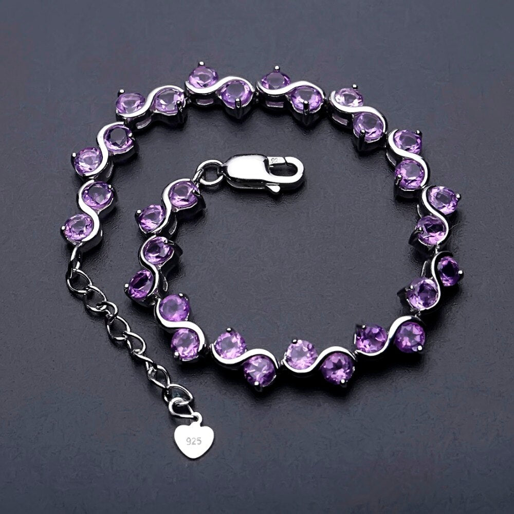Sterling Silver 9.04Ct Natural Amethyst Bracelet