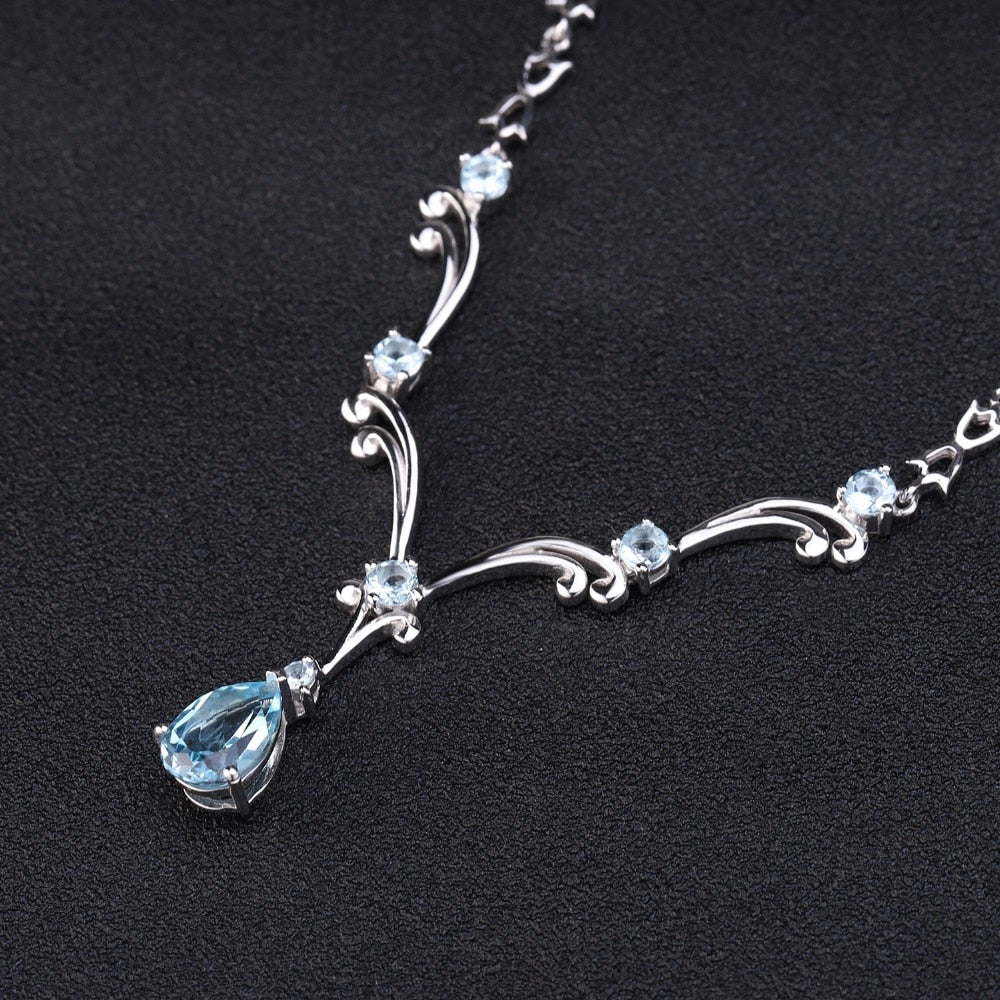 5.31Ct Natural Sky Blue Topaz Pendant Necklace for Women