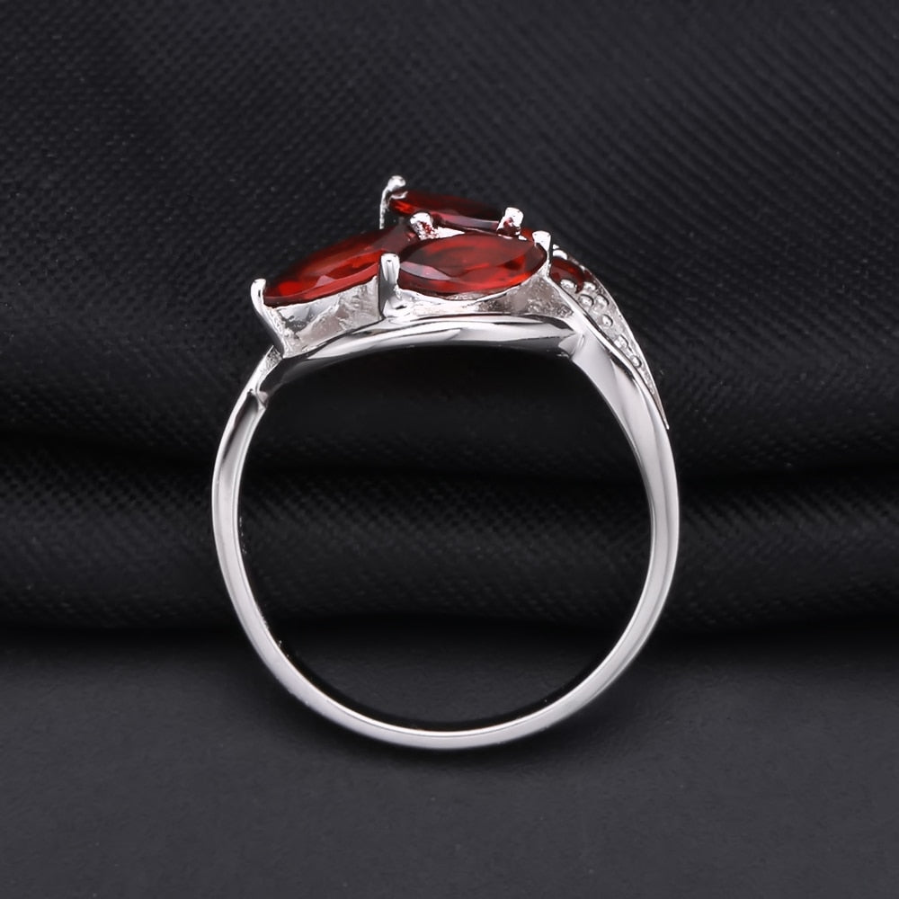2.38Ct Natural Red Garnet Sterling Silver Gemstone Ring for Women