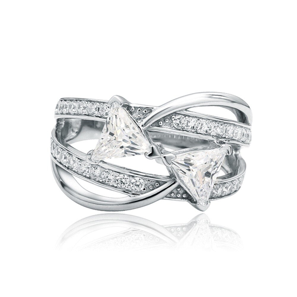 Luxurious Sterling Silver Wide Band Ring For Women
