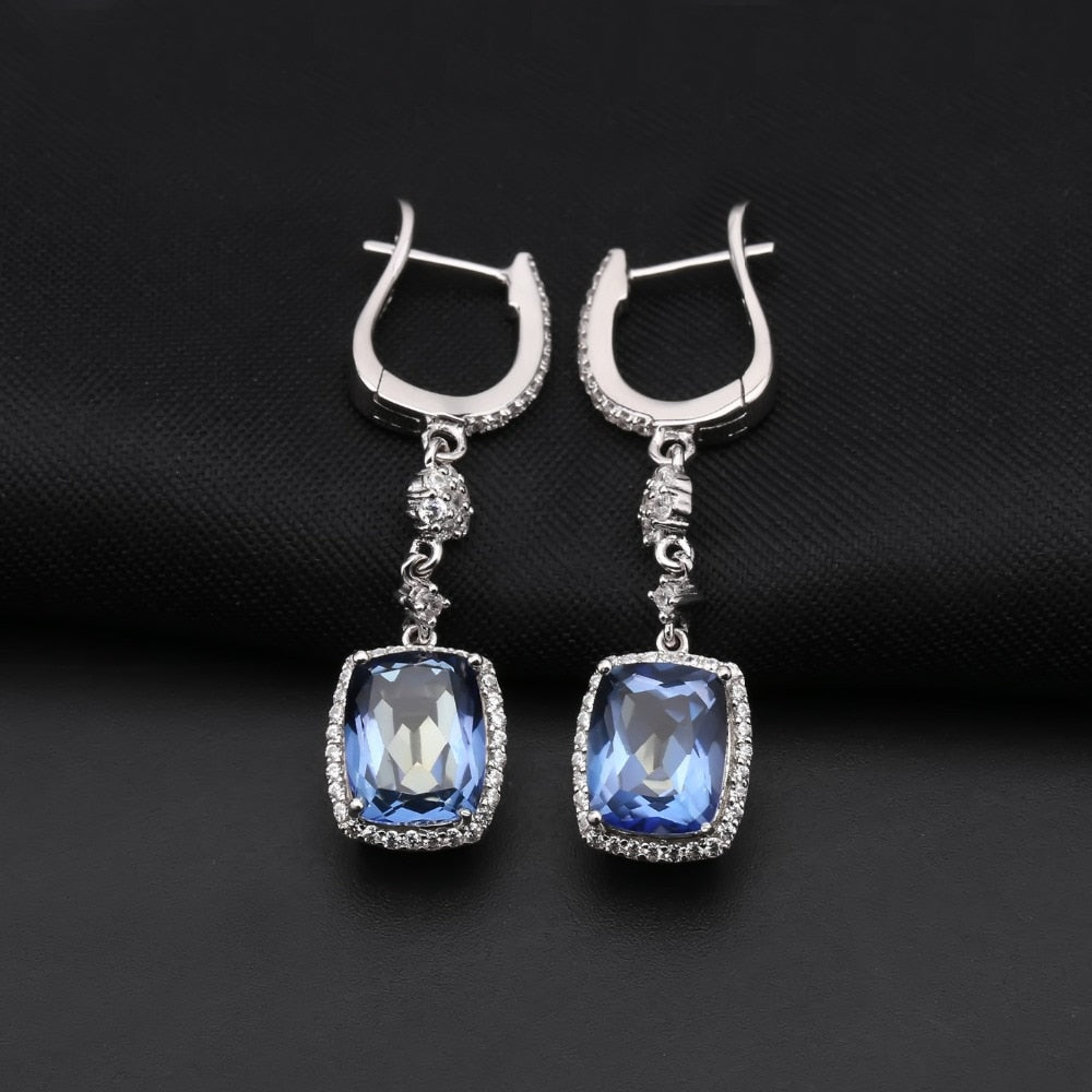 Natural Iolite Blue Mystic Quartz Necklace, Earrings & Ring Set