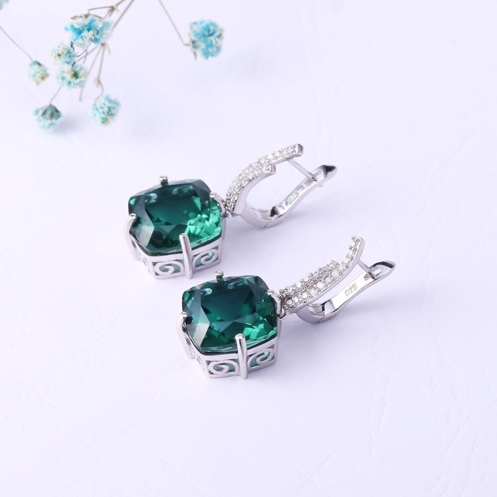Russian Nano Emerald Silver Ring/Earrings Set For Women