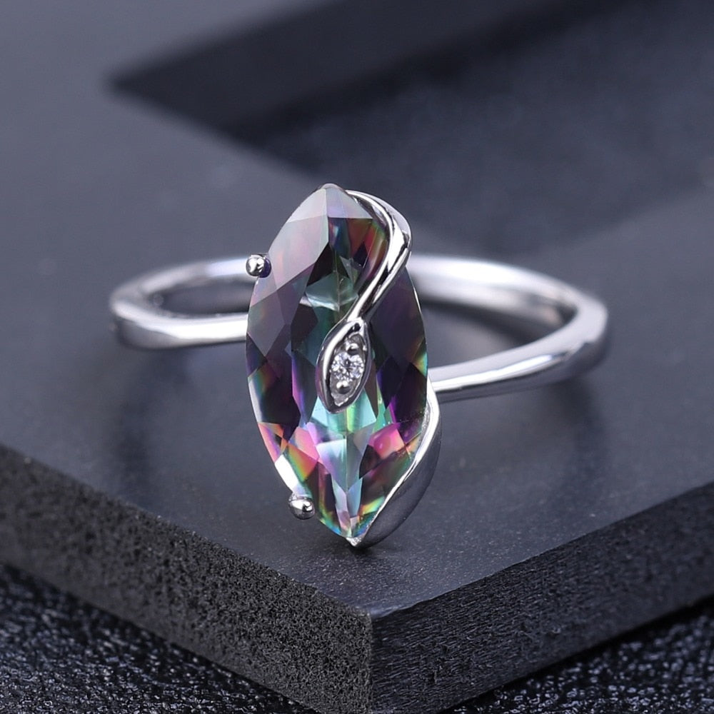 2.49Ct Natural Rainbow Mystic Quartz Sterling Silver Ring