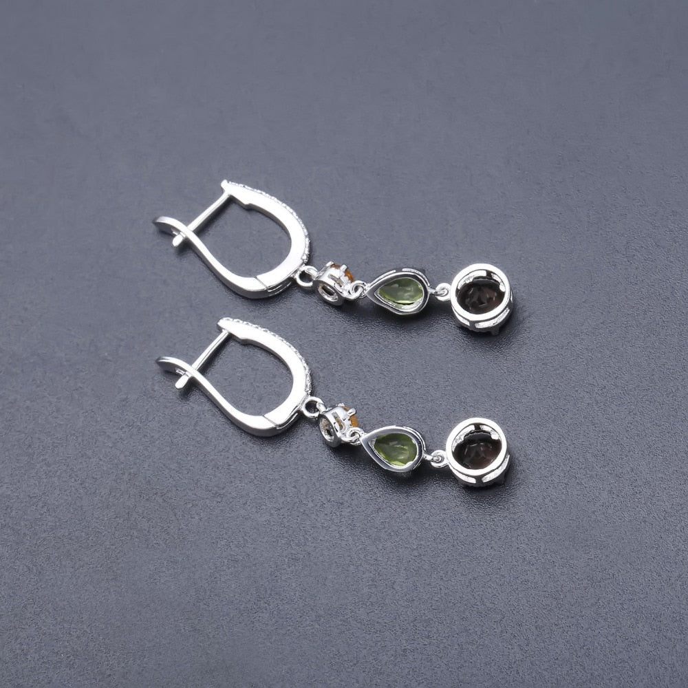 Sterling Silver Natural Citrine Peridot Smoky Quartz Drop Earrings