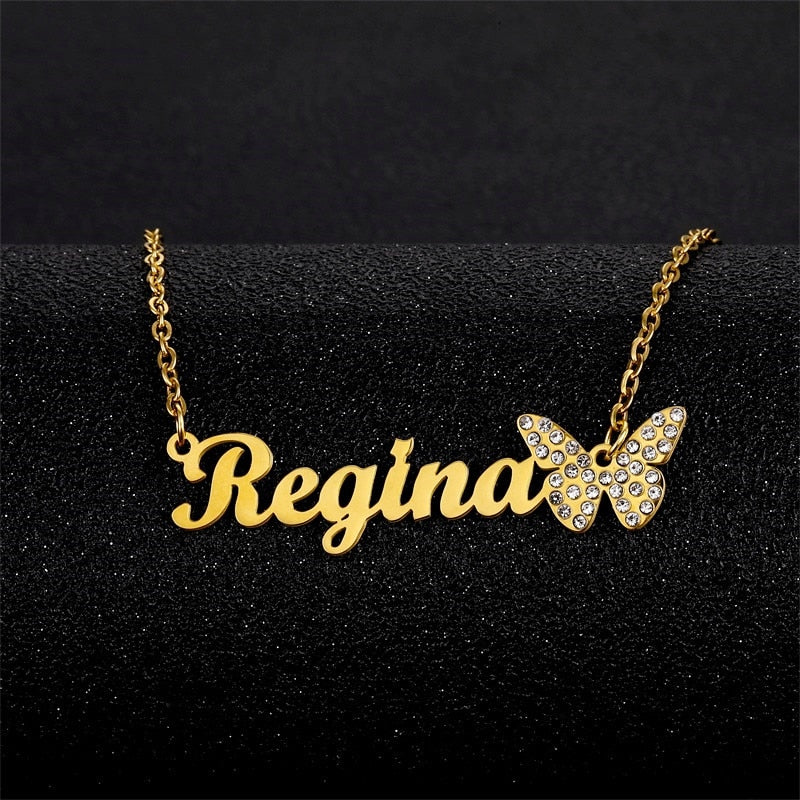 Stainless Steel Personalized Butterfly Chain Necklace