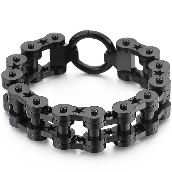 18MM Wide Men's Motorcycle Chain Bracelet Heavy Stainless Steel
