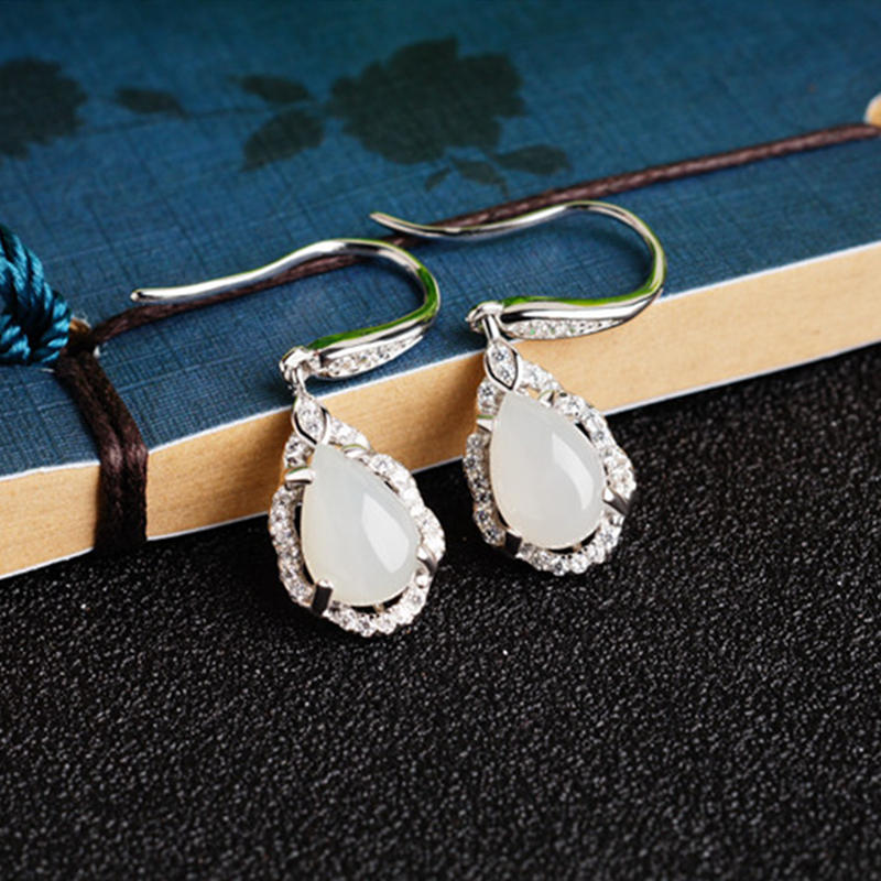 Sterling Silver Elegant Natural White Jade Drop Earrings