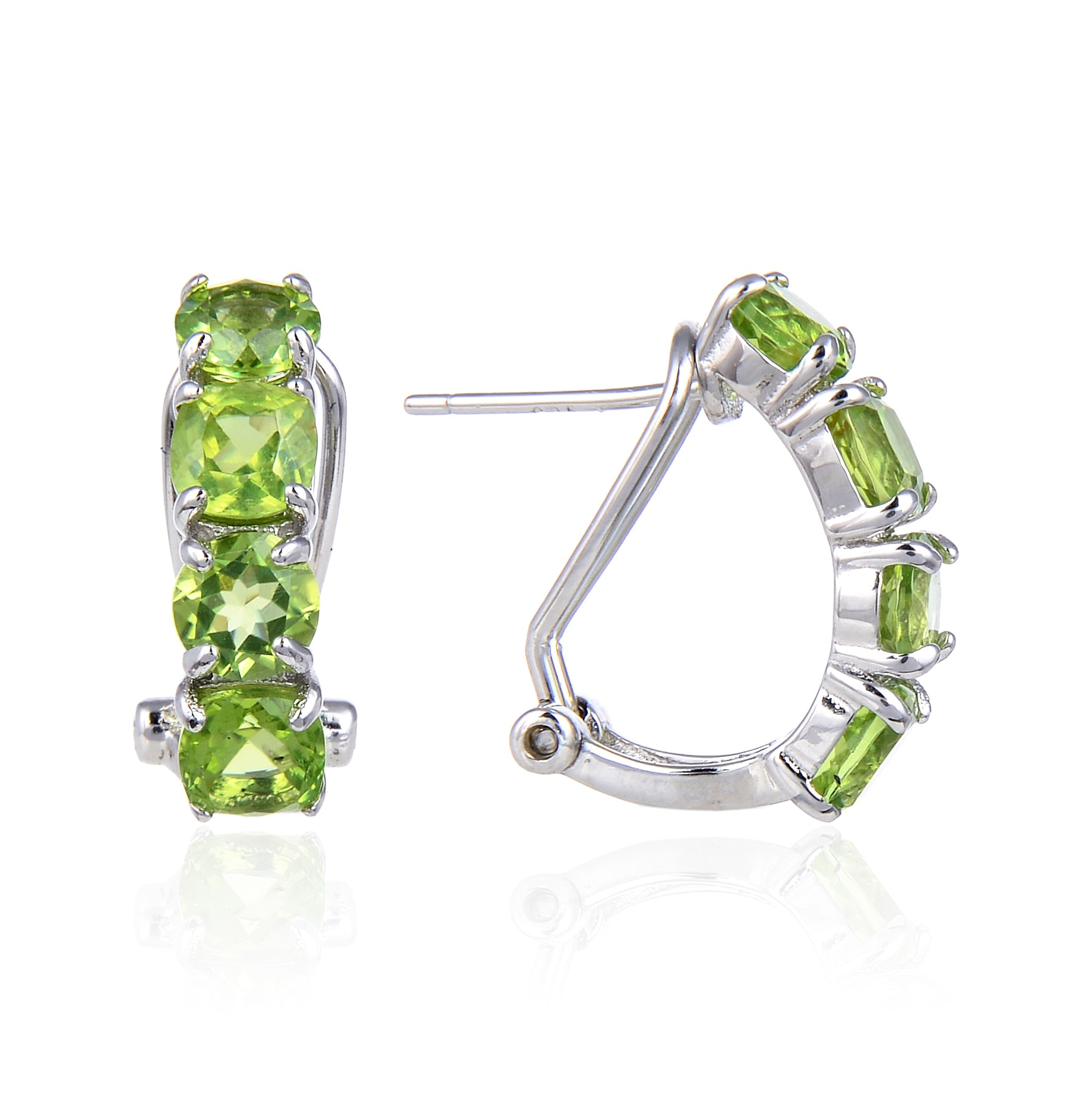 Sterling Silver Peridot, Black Garnet & Mystic Topaz Women's Hoop Earrings