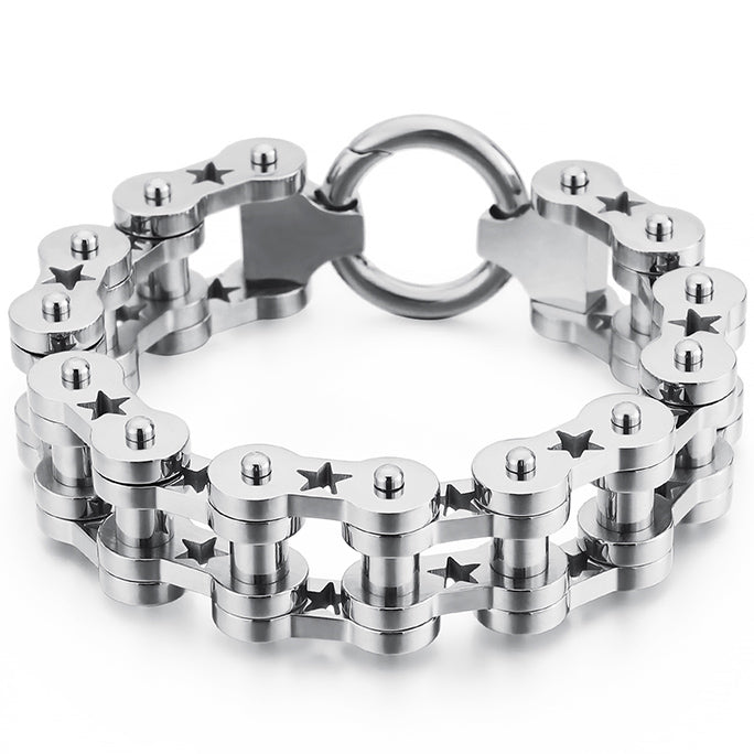 18MM Wide Men's Motorcycle Chain Bracelet Heavy Stainless Steel - Pizarkle