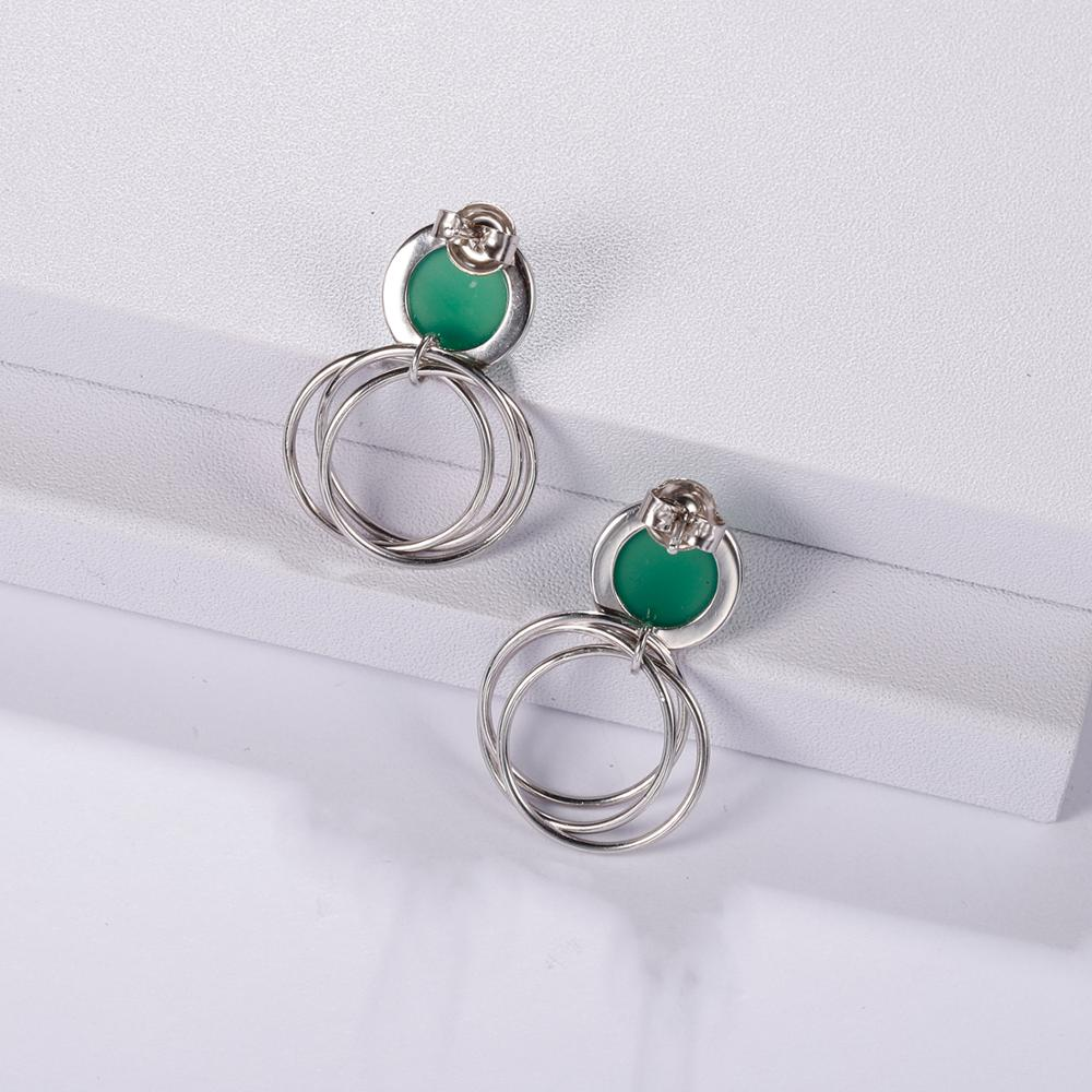 Sterling Silver Natural Green Agate Earrings For Women