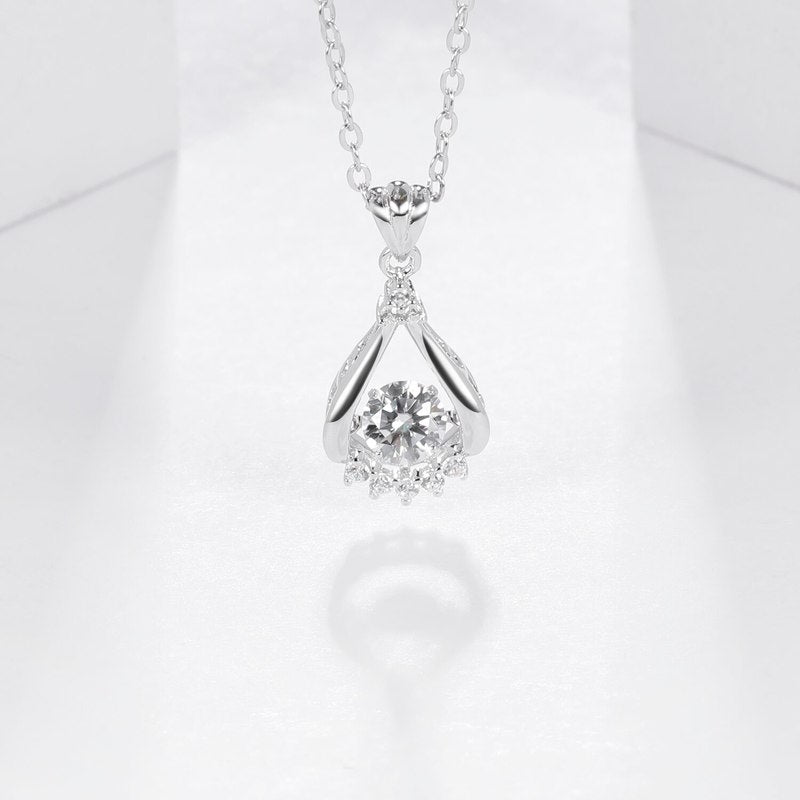 Sterling Silver Moissanite Pendant Necklace For Women - Pizarkle