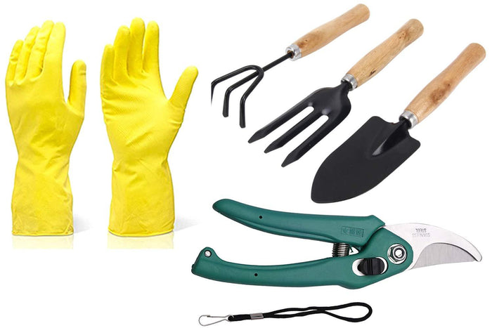 BulkySellers Gardening Tools - Reusable Rubber Gloves, Flower Cutter & Garden Tool Wooden Handle (3pcs-Hand Cultivator, Small Trowel, Garden Fork)