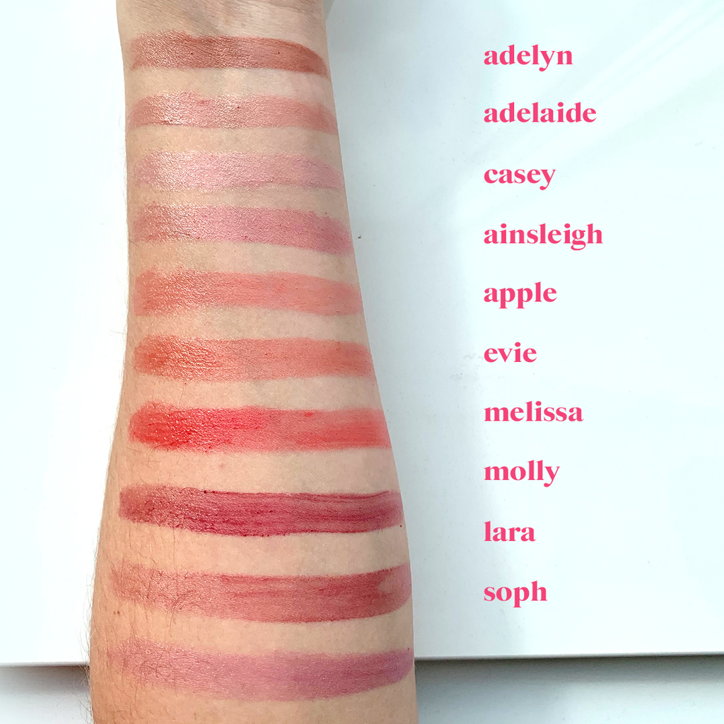 Swatches of Glossing Lip Serums