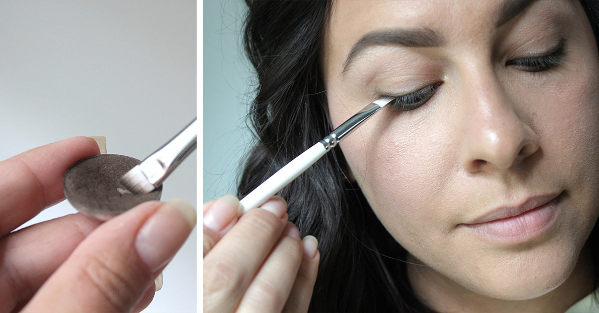 Image of model applying Natural Brow Powder with Root #8 Angled Brow & Liner Brush