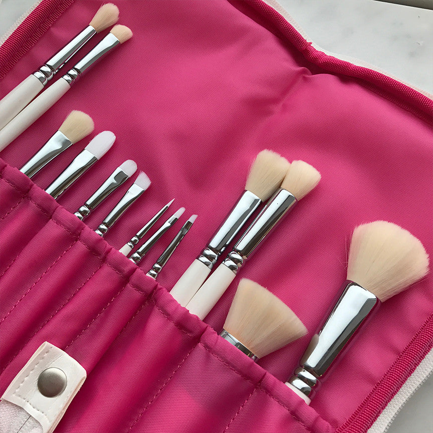 Professional 13 Piece Brush Set with Handmade Vegan Leather Case