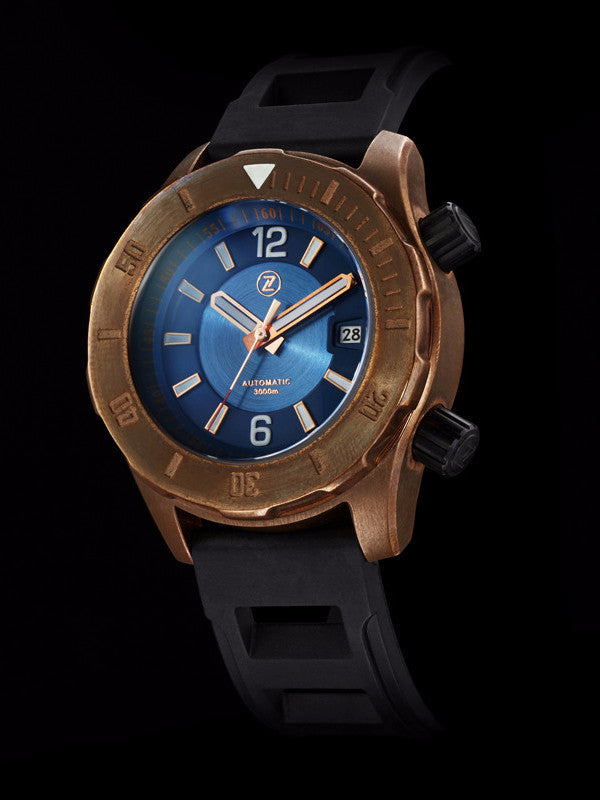Abyss 3000m Bronze Diver Watch Blue Zelos Watches