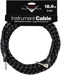 "Fender Custom Shop Performance Series Cable Right Angle 1/4"" Black Tweed 18.6 FT - Ant Hill Music"
