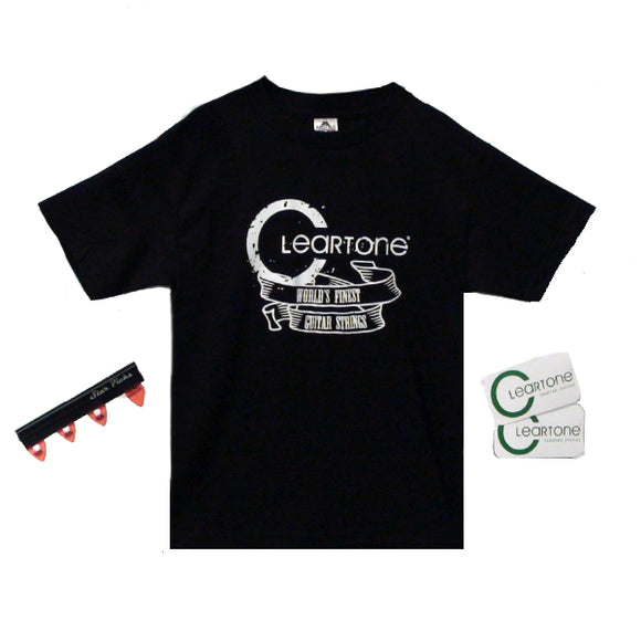 Cleartone World's Finest Guitar Strings Tee Shirt and Pickholder Gift Bundle - Ant Hill Music