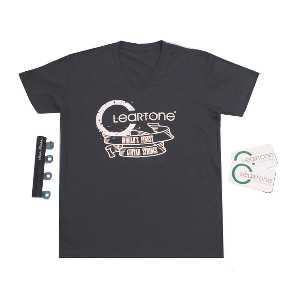 Cleartone World's Finest Guitar Strings 100% Organic Cotton V-Neck Tee Bundle - Ant Hill Music