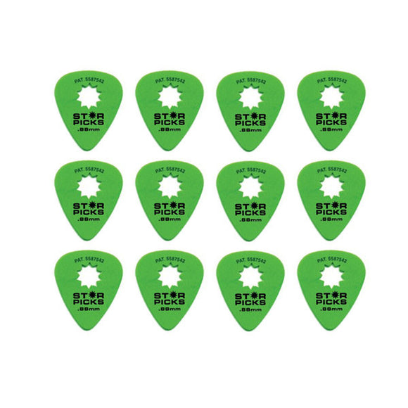 Everly Star Picks 351 Shape Delrin Guitar Picks .88mm 12 Pack Green - Ant Hill Music