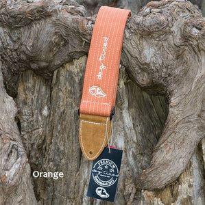 Dog Tired Premium Guitar Strap Handmade in the USA - Orange - Ant Hill Music