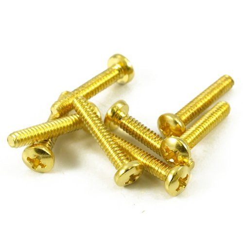 Electric Guitar Single Coil Pickup & Switch Screws - Gold - Set of 8 - Ant Hill Music