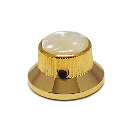 Ant Hill Music Guitar Control Knob Bell Top Fits Solid Shaft Pot Gold/WHT Pearl - Ant Hill Music