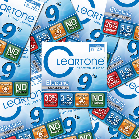 Cleartone Electric Guitar Strings Nickel Plated Hybrid LT - 9-46 - 9419 12-Pack - Ant Hill Music