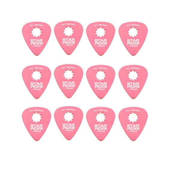 Everly Star Picks 351 Shape Delrin Guitar Picks .73mm 12 Pack Pink - Ant Hill Music