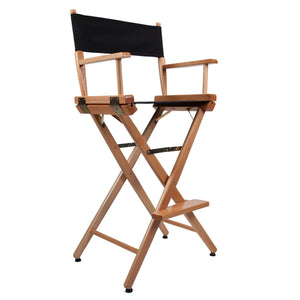 "Film Craft Studio Directors Chair Tall 46"" Natural Gloss Washable Canvas Folding"