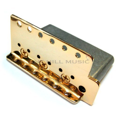 Genuine Mexican Fender Gold Bridge Plate and Block 2 1/16