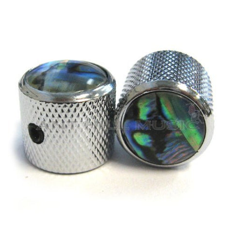 Mighty Mite Guitar Barrel Knobs - Chrome with Abalone Inlay