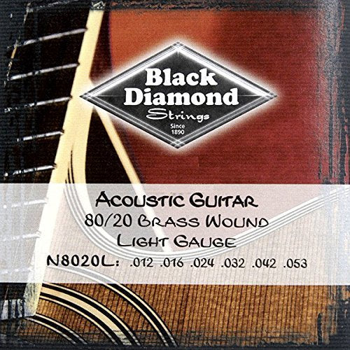 Black Diamond Strings 80/20 Brass Wound Acoustic Guitar Strings 12-53