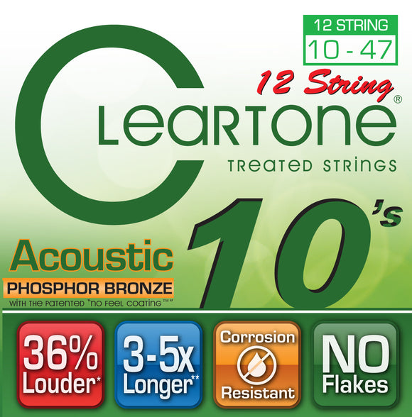 Cleartone Acoustic 12 String Guitar - Phosphor Bronze - Light 10-47 - 1 Pack - Ant Hill Music