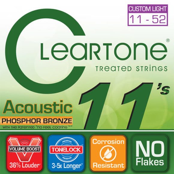 Cleartone Acoustic Guitar Strings - Phosphor Bronze - CL .011 .052 - 1 Pack