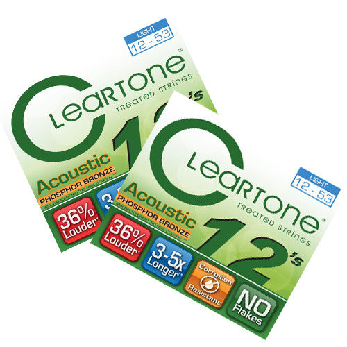 Cleartone Acoustic Guitar strings - Phosphor Bronze - Light .012 .053 - 2 Pack - Ant Hill Music