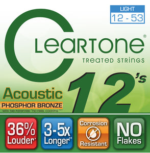 Cleartone Acoustic Guitar strings - Phosphor Bronze - Light .012 .053 - 1 Pack - Ant Hill Music