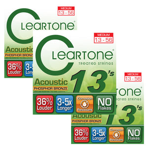 Cleartone Phosphor Bronze Acoustic Guitar Strings - Medium - 13-56 - 3 Pack 7413 - Ant Hill Music
