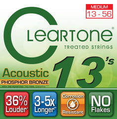 Cleartone Acoustic Guitar Strings - Phosphor Bronze - Medium .013 .056 - 1 Pack