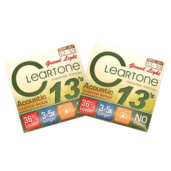 Cleartone Acoustic Guitar Strings Phosphor Bronze - Grand Light 13-53 - 2 Pack - Ant Hill Music