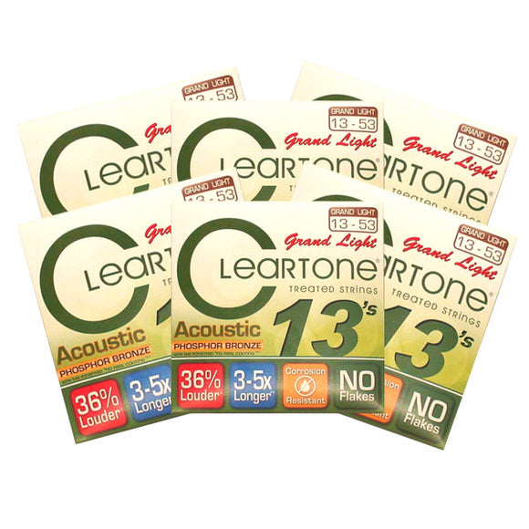 Cleartone Acoustic Guitar Strings Phosphor Bronze - Grand Light 13-53 - 6 Pack - Ant Hill Music