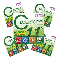 Cleartone 80/20 Bronze Acoustic Guitar Strings - Extra Light 11-52- 5 Pack 7611