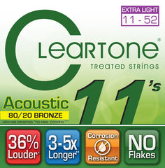 Cleartone Acoustic Guitar Strings - 80/20 Bronze Extra Light .011 .052 - 1 Pack
