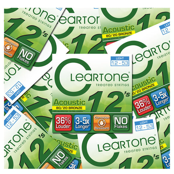 Cleartone 80/20 Bronze Acoustic Guitar Strings - Light 12-53 - 5 Pack 7612 - Ant Hill Music